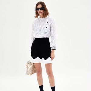 Zara Two-Tone Skirt - Black/Ecru